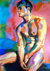 Sexy Naked Man - Erotic Colourful Painting Large Art Poster / Canvas Pictures