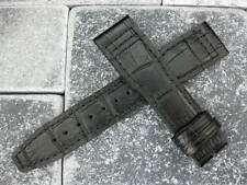 New IWC 21mm Black Crocodile Grain LEATHER STRAP Watch Band Top Gun PILOT