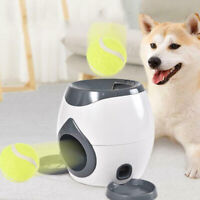 Dog Slow Feeder Toy Tennis Ball Thrower Food Reward Machine Fetch Training To ib