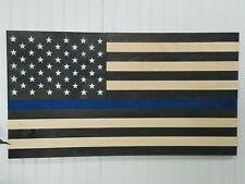 AMERICAN FLAG THIN BLUE LINE THEME WOODEN WALL MOUNT ART DECOR USA DECORATION