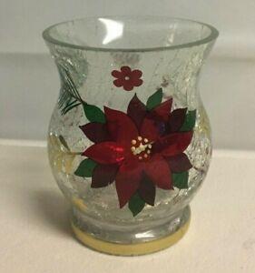 Yankee Candle Crackle Glass Poinsettia Votive Tea Light Candleholder New!