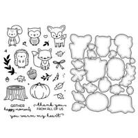 Cute Cartoon Animals Metal Cutting Dies And Clear Stamp Set For DIY Scrapbooking