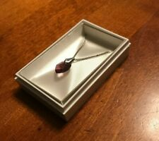 Pendant with Silver Chain and Box Vintage Petite Heart Shaped Amethyst Drop