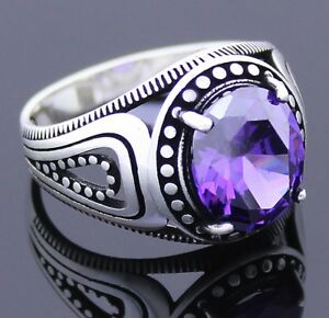 Solid 925 Sterling Silver Amethyst Stone Men's Ring
