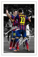 LIONEL MESSI & NEYMAR JR BARCELONA AUTOGRAPH SIGNED PHOTO PRINT SOCCER