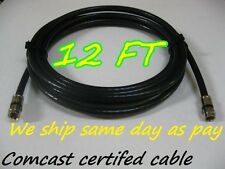 BRAND NEW 12FT RG-6 COAX BLACK CABLE JUMPER FITTINGS COAXIAL RG6 TV SATELLITE
