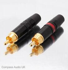 10 Neutrik Phono RCA ORO NYS373 Rosso/Nero Professionale Connettori REAN