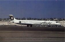ALASKA AIRLINES MD-82 IN NEW 1990 COLOR SCHEME AT SAN DIEGO AIRPORT POSTCARD