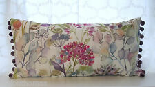 Handmade Voyage Country HEDGEROW cream linen cushion cover purple pompom 24 x 12