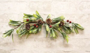 """New Christmas Sparkle MISTLETOE RED BERRY PINECONE SWAG Wreath Arch Bough 15"""""""