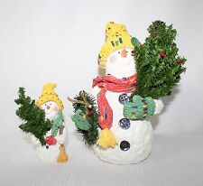 Whimsical 1998 Father & Son Snowmen Carrying Christmas Trees Band Creations 2pc