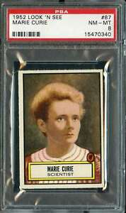 1952 TOPPS LOOK AND SEE #87 MARIE CURIE PSA 8  *DS9382
