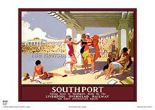 Southport Lancashire FERROVIA poster Retrò Vintage holdiay Viaggi Pubblicità
