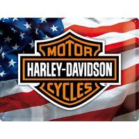 Blechschild HARLEY DAVIDSON USA 30x40 cm gewölbt geprägt Biker Schild NEU Rocker