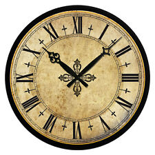 Vintage Wooden Wall Clock Large Shabby Chic Rustic Kitchen Home Antique Style