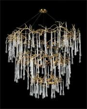 """72.5"""" T Chandelier 3 Tier Brass Branches Dripping with Hand Blown Artisan Glass"""