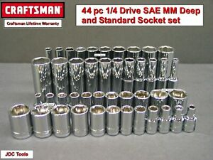 CRAFTSMAN TOOLS 44 pc Standard and Deep 1/4 SAE METRIC MM 6pt socket set 46 45