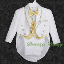 5 pc Tuxedo Formal Suit Wedding Pageboy Baptism Christening Outfit Size 0-4 #015