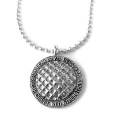 Phil 4:13 Golf ball Necklace Silver  (SPG)