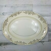 Vintage Paden City Pottery Oval Platter PCP212 Gold Floral Scrolls Verge
