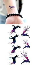 Small Purple Deer Temporary Tattoo Sticker Waterproof Transfer Sticker /-bm75-/