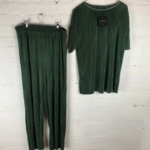 V By Very Longline Plisse Co Ord Top And Wide Leg Trouser Set - Khaki Uk14