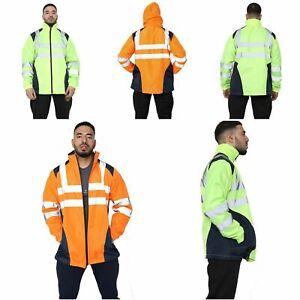 Mens Hi viz Rain Jacket High Visibility Waterproof Reflective Tape Band Top 5xl
