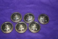 """6 Puffed Antiqued Brass Tone Metal Buttons Crown and Anchor Nautical 7/8"""" 23MM"""
