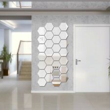 12Pcs 3D Mirror Hexagon Vinyl Wall Sticker Decal Removable Home Decor Silver XS