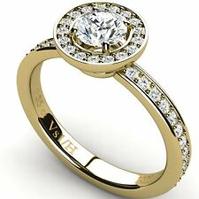 Halo Diamond Engagement Ring with Side Accents 18K Yellow Gold 0.72ct All Sizes