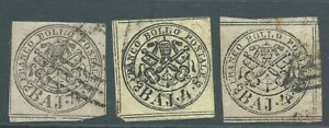 PAPAL STATES 1852 SG17/19 4b group x 3 good to fine used