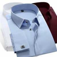 Mens Long Sleeves Shirts Business Work Formal French Cuff Dress Cufflinks MA6332