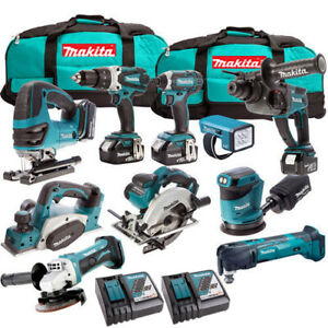 Makita 10 Piece Power Tool Kit 18V LXT 4 x 5.0Ah Batteries