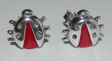Carolyn Pollack Red Coral Sterling Silver Ladybug Button Earrings