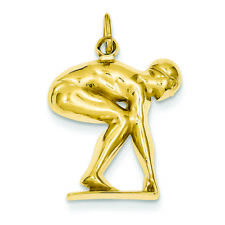 14K Yellow Gold Swimmer/diver Charm Pendant MSRP $264