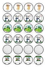24 Edible cake toppers decorations Golf Clubs Ball Green Caddie