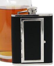 7 oz Black Leather Alcohol Flask + Cigarette Case (100s)