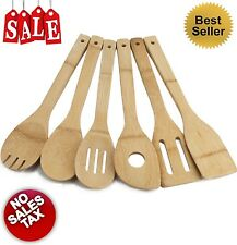 6 Piece Bamboo Utensil Set Kitchen Wooden Cooking Tools Spoon Spatula Mixing NEW