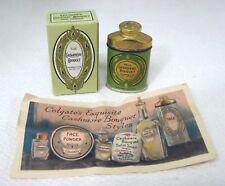 Antique Cashmere Bouquet Talc Free Sample Tin Original Box and Paper T101