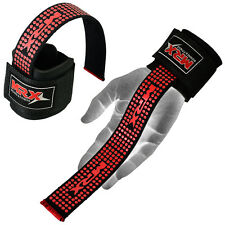 Weight Lifting Bar Straps Gym Bodybuilding Wrist Support Wraps Bandage Black Red