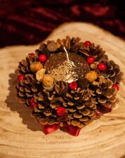 Christmas Glitter Candle Table Centrepiece Decoration Festive Home Xmas Decor