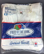 Vintage Fruit Of The Loom 1 pack of 3 Cotton Mens Athletic Shirts Size L 42-44