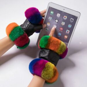 Winter Gloves Leather For Women Real Rabbit Fur Fingerless Wrist Warm Mittens