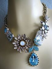 BETSEY JOHNSON~ICONIC ENCHANTED GARDEN CRYSTAL CHARM STATEMENT NECKLACE~RARE