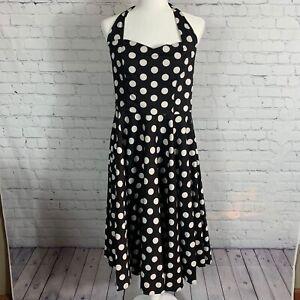 Hell Bunny Vixen Rockabilly Polka Dot Black & White Halter Dress Size Large
