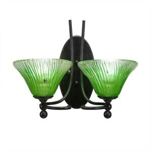 Toltec Lighting Capri 2 Light Wall Sconce, Kiwi Green Crystal Glass - 590-DG-753