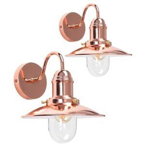 Pair of Copper Wall Light Fittings Fisherman Design Lanterns LED Bulb Lighting