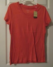 NWT LADIES HAWAIIAN CRL PEACH COLOR SONOMA EVERYDAY TEE V-NECK TOP   SIZE L