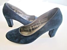 Italy AQUATALIA 8 TINA navy BLUE suede HEELS PUMPS weatherproof  shoes + BOX