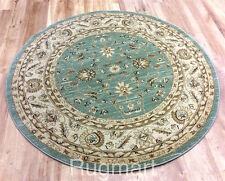 ROUND Afghan Ziegler Wool like Antique Traditional LIGHT GREEN Rug 160cm -30%OFF